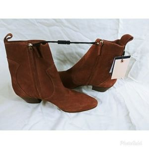 Zara Basic Size 7.5 Suede Ankle Boots Booties
